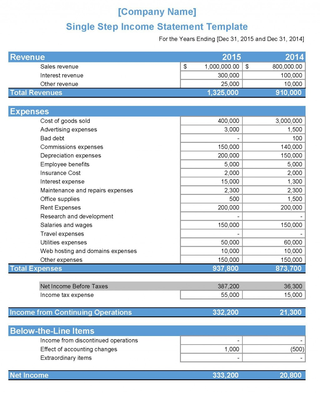 009 Dreaded Income Statement Excel Template High Def  Quarterly Simple Personal ExpenseLarge