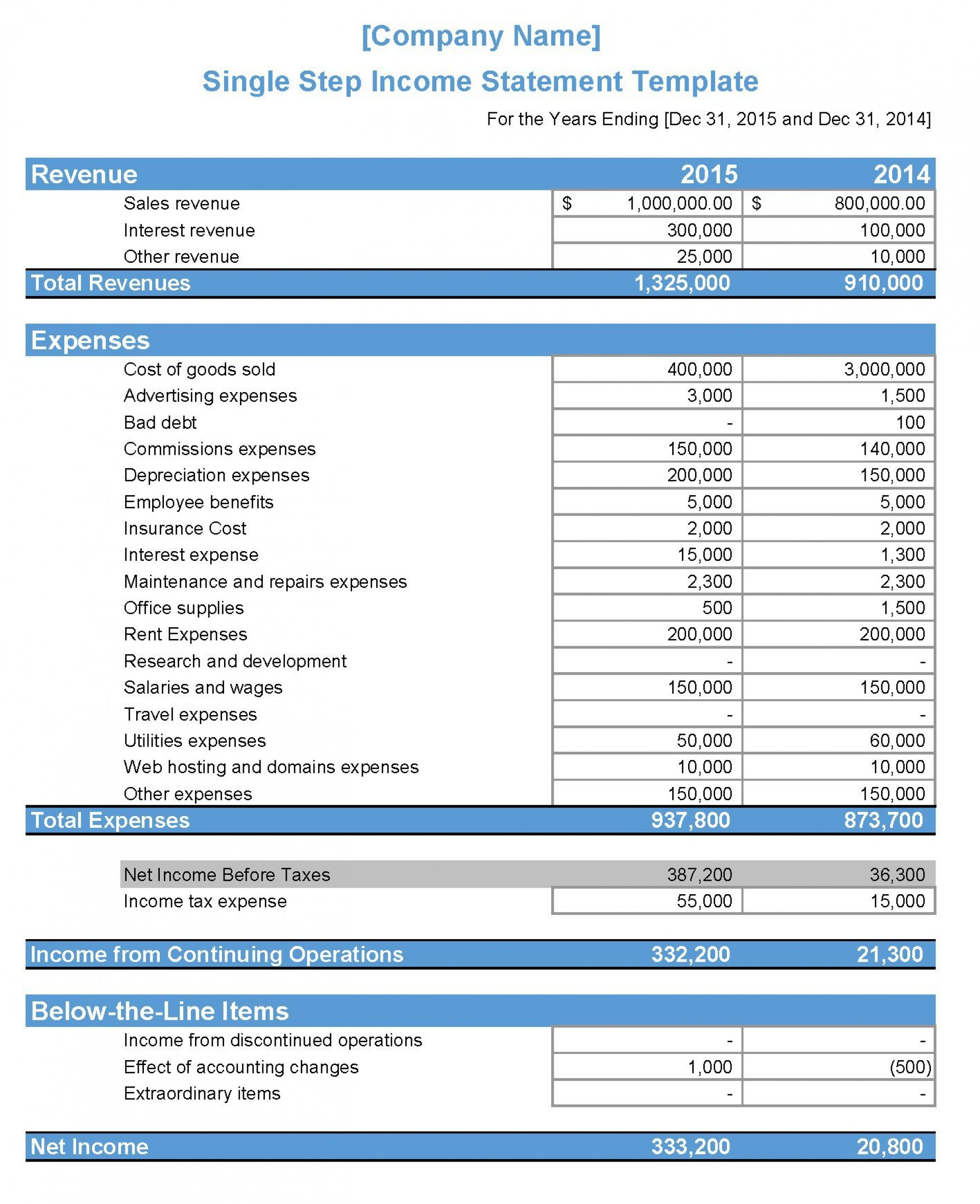 009 Dreaded Income Statement Excel Template High Def  Quarterly Simple Personal Expense1920