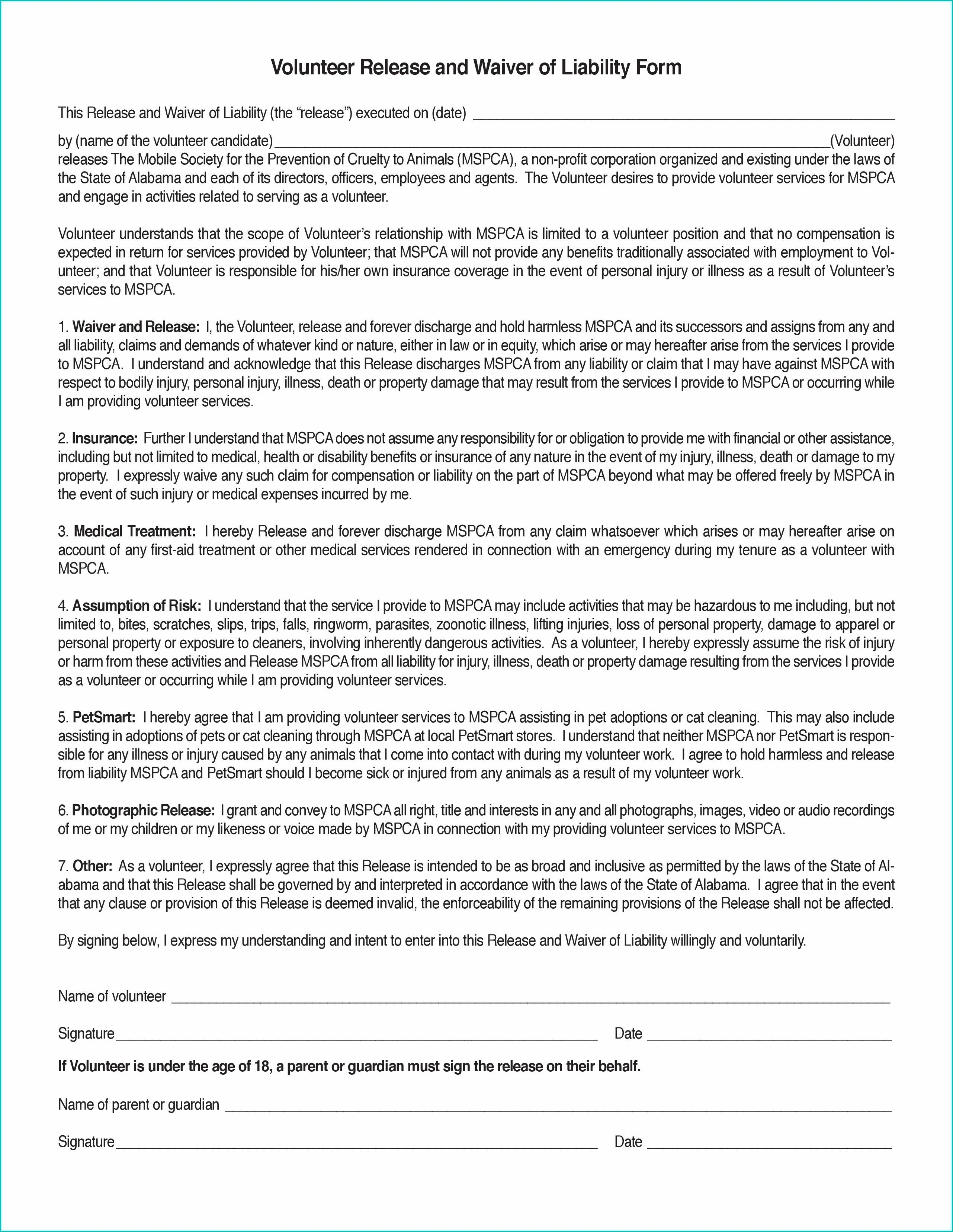 009 Dreaded Liability Release Form Template Design  General Waiver Church FreeFull