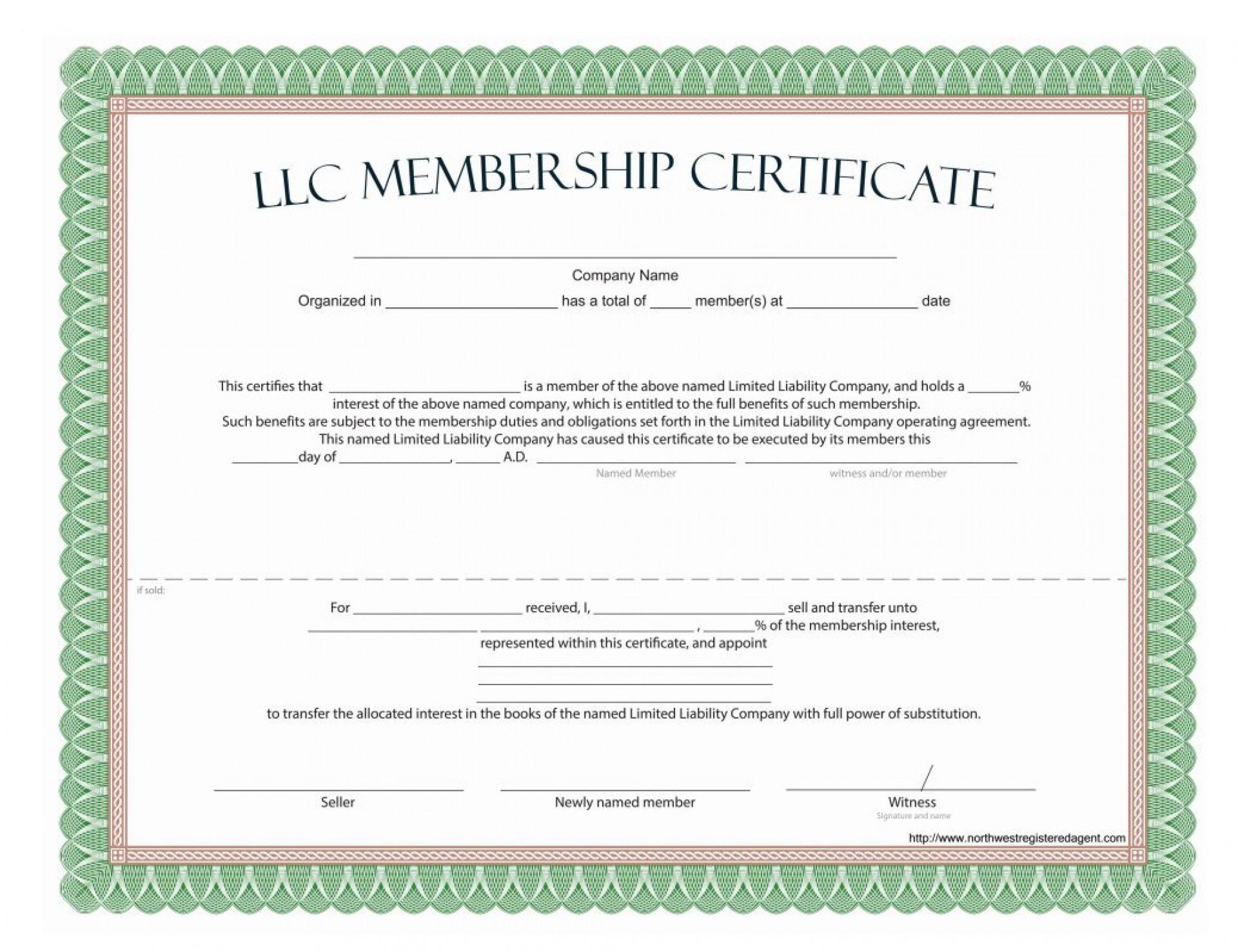009 Dreaded Llc Membership Certificate Template Highest Clarity  Interest Free Member1920