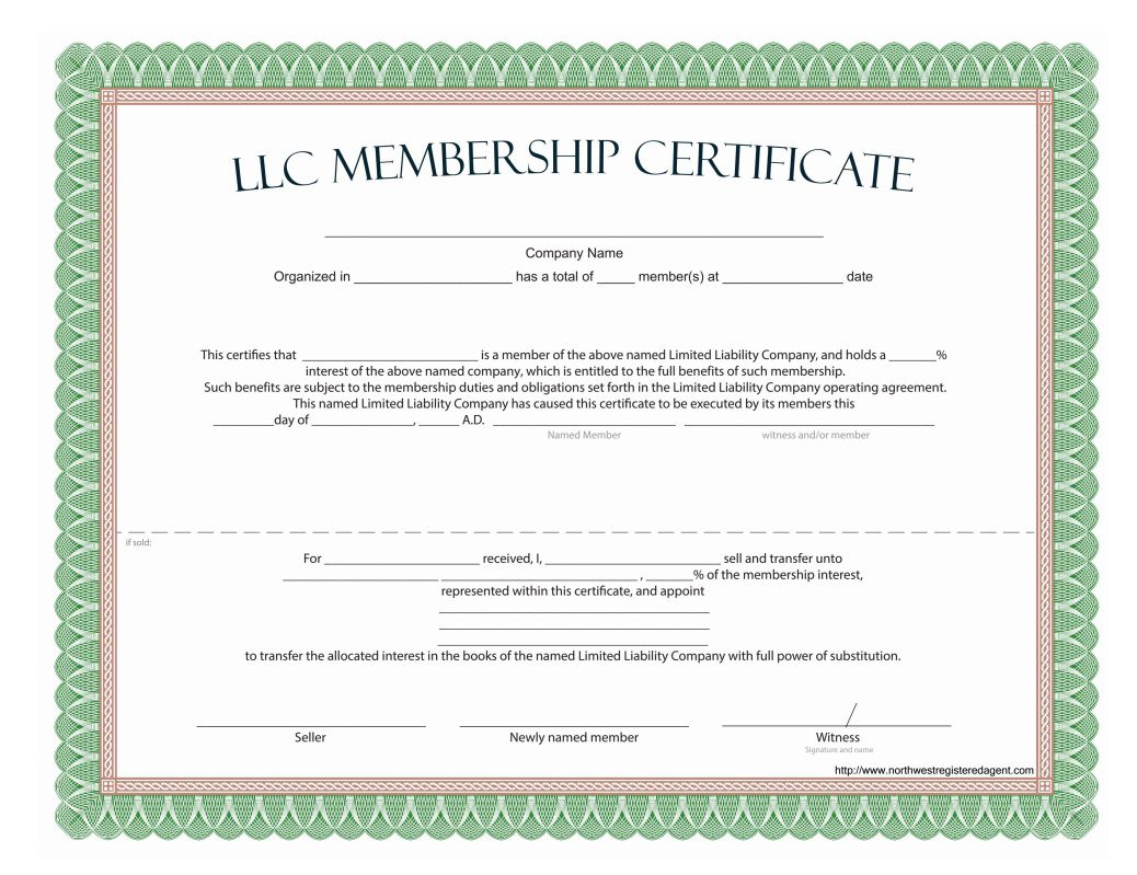009 Dreaded Llc Membership Certificate Template Highest Clarity  Interest Free MemberFull