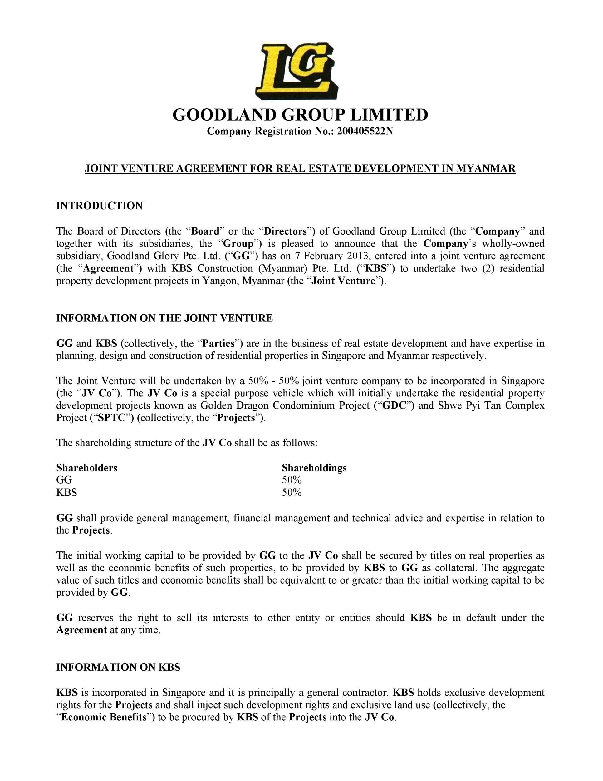 009 Dreaded Property Development Joint Venture Agreement Template Uk High Def Full