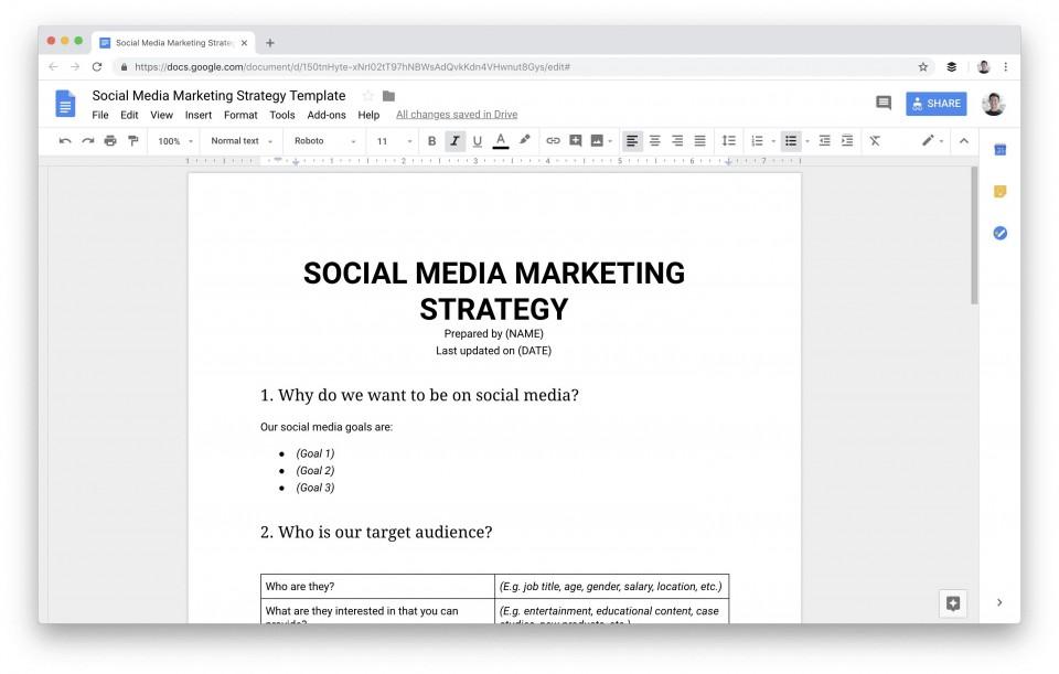 009 Dreaded Social Media Plan Template Sample  Free Download Ppt Marketing Excel960
