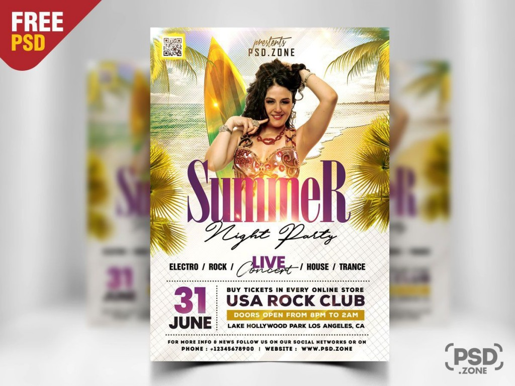 009 Dreaded Summer Party Flyer Template Free Download Sample Large