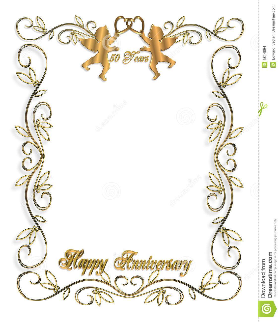 009 Excellent 50th Wedding Anniversary Invitation Template Free Design  Download Golden Microsoft WordFull