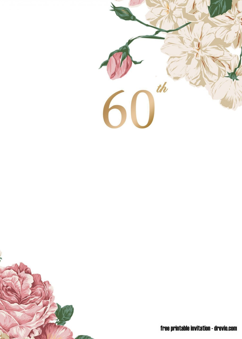 009 Excellent 60 Birthday Invite Template Picture  Templates 60th Printable FreeLarge