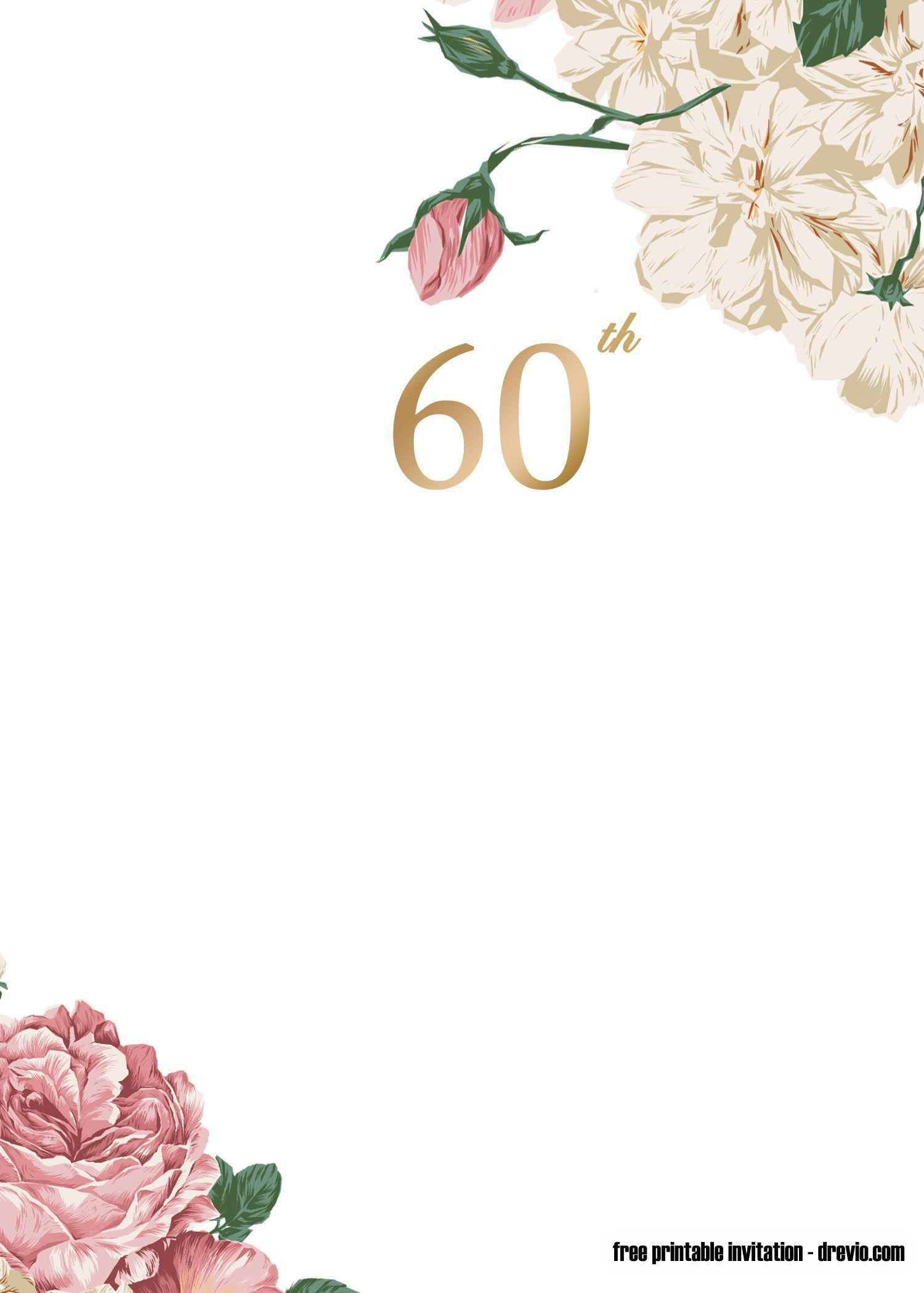 009 Excellent 60 Birthday Invite Template Picture  Templates 60th Printable FreeFull