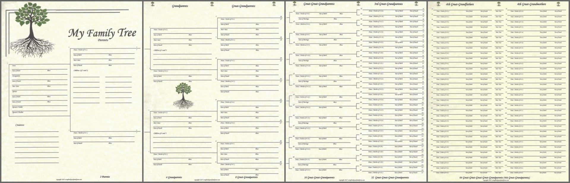 009 Excellent 7 Generation Family Tree Template Sample  Blank Free Editable1920