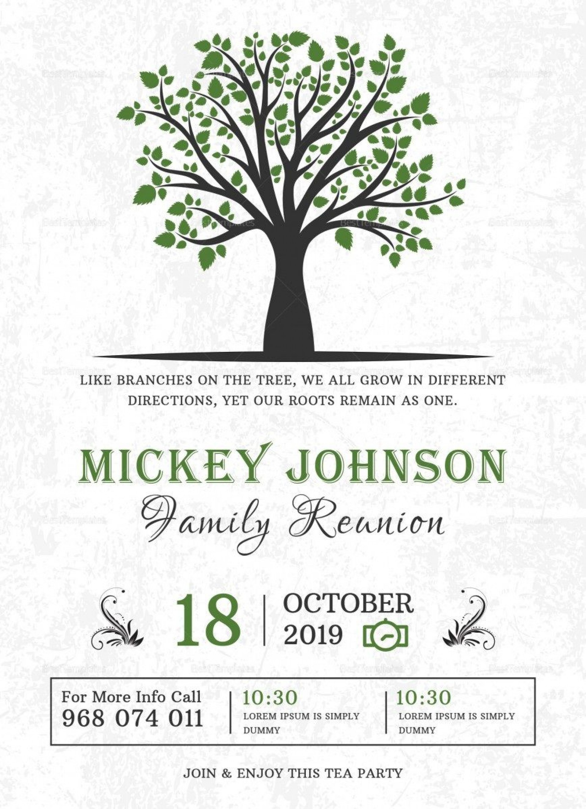 009 Excellent Family Reunion Invitation Card Template High Resolution 1920