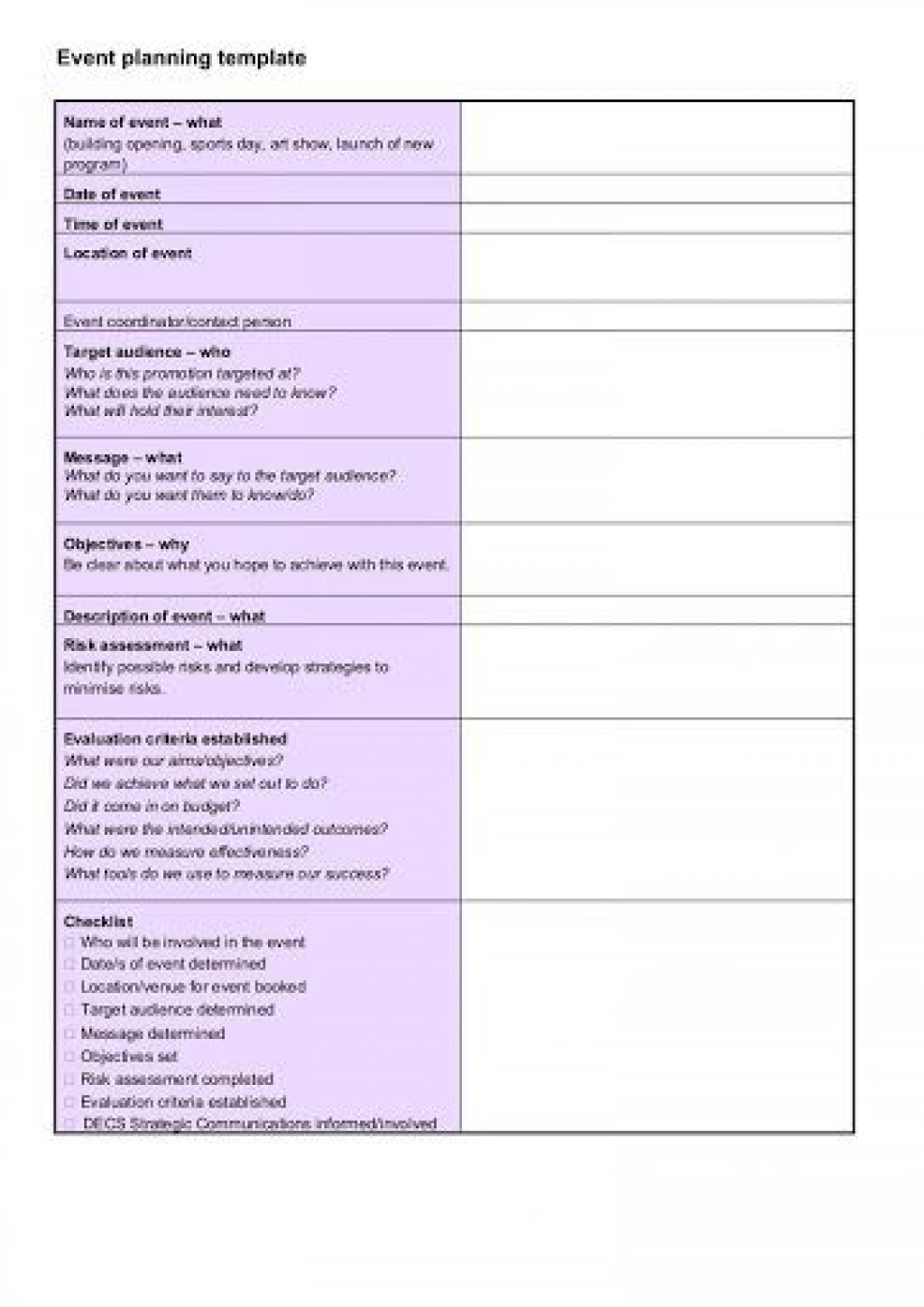 009 Excellent Free Event Planning Template Checklist Image  Planner PartyLarge
