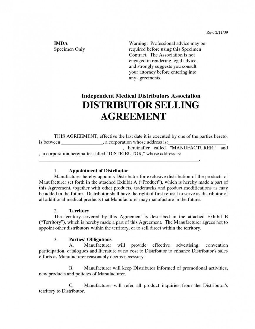 009 Excellent Free Exclusive Distribution Agreement Template Uk Example 868