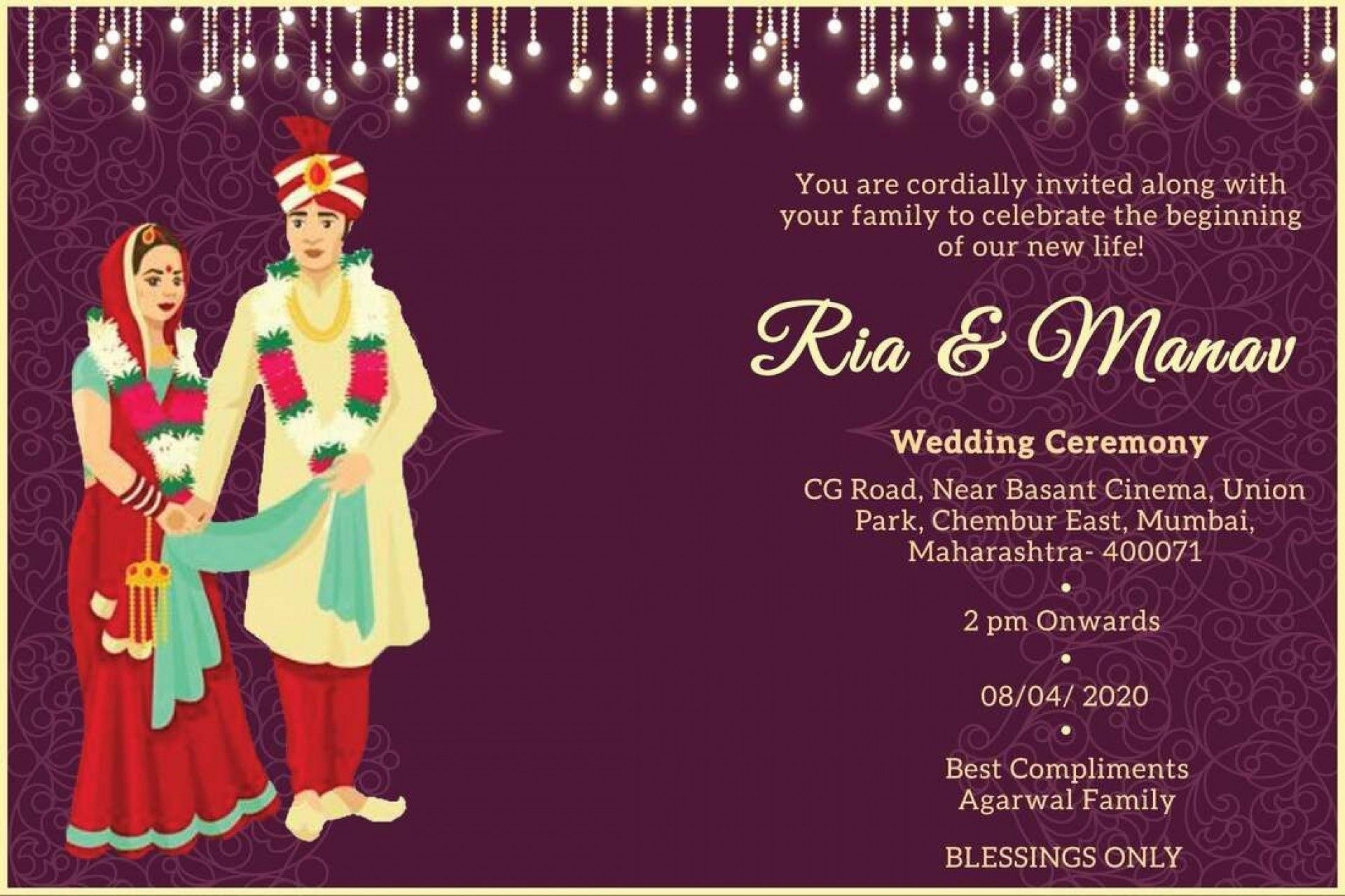 009 Excellent Free Online Indian Invitation Template Photo  Templates Engagement Card Maker Wedding1920