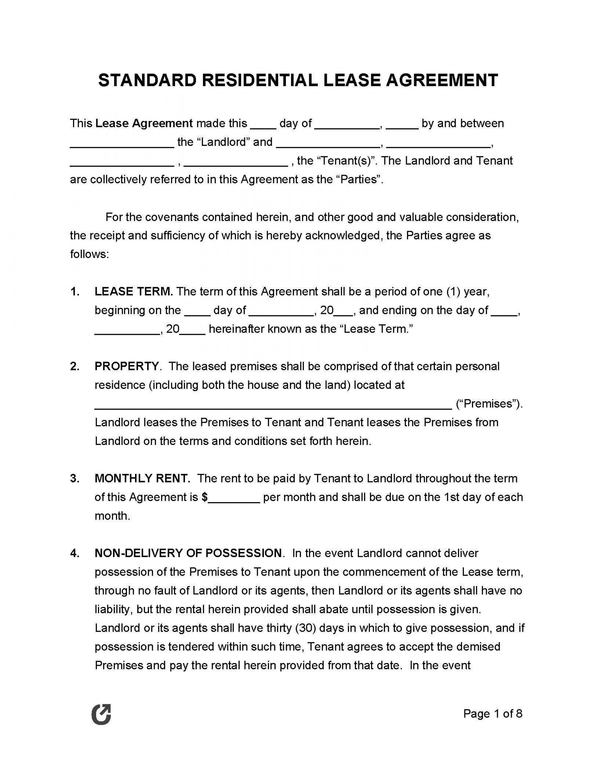 009 Excellent Generic Rental Agreement Free Idea  Template Word Printable1920