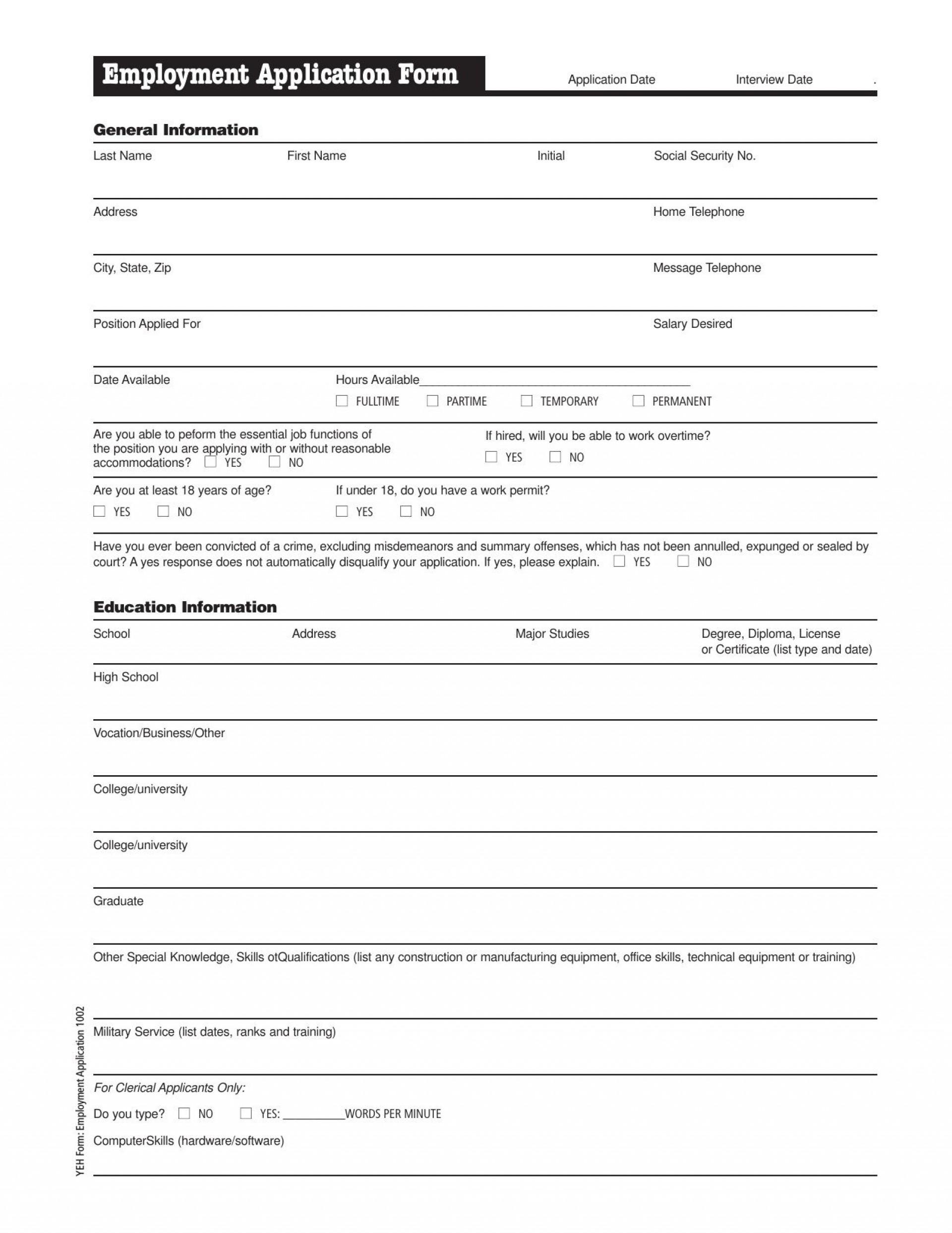 009 Excellent Job Application Template Pdf Design  Employment Form California Restaurant Sri Lanka1920