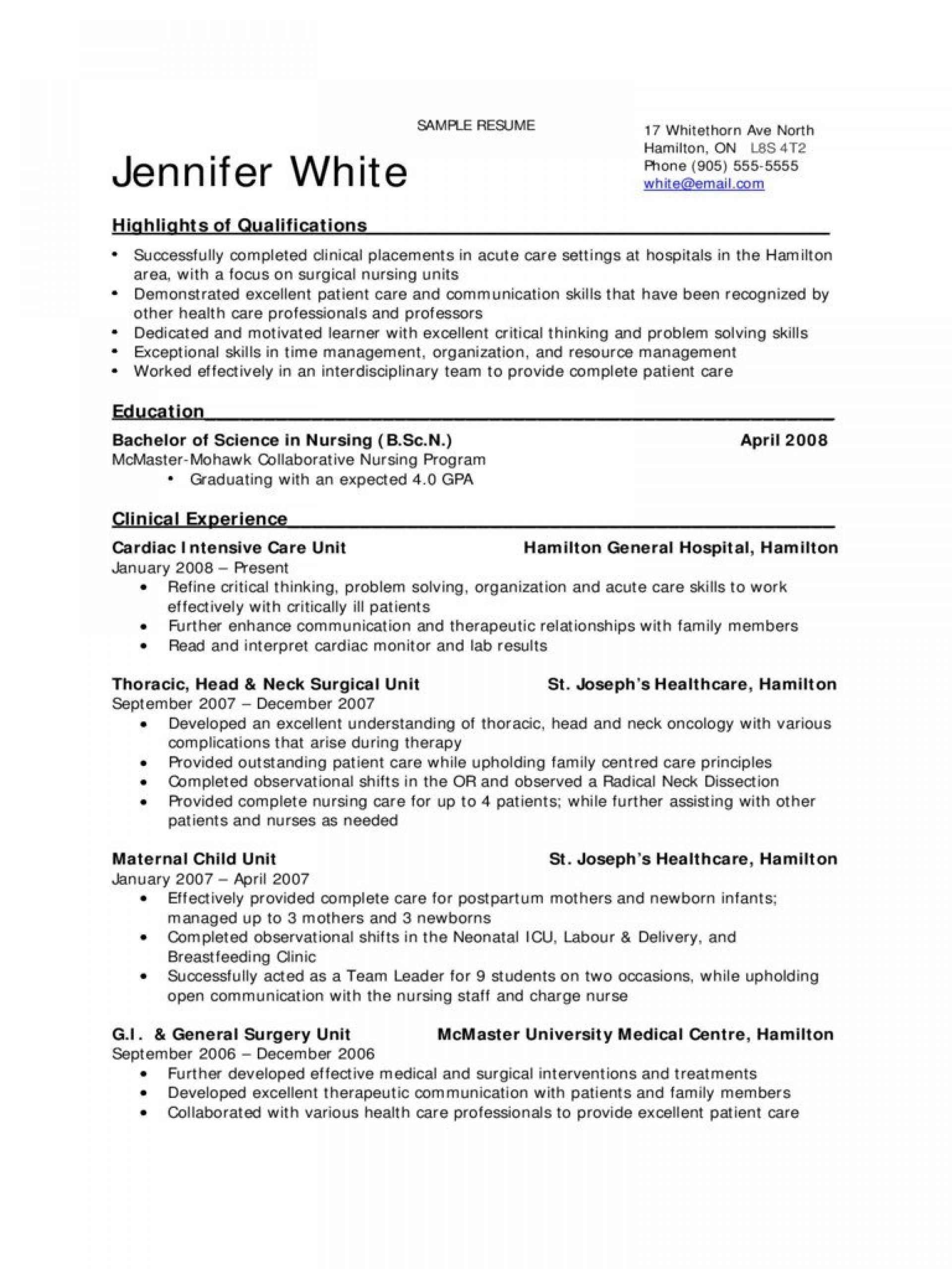 009 Excellent New Grad Nursing Resume Template Example  Graduate Nurse Practitioner1920