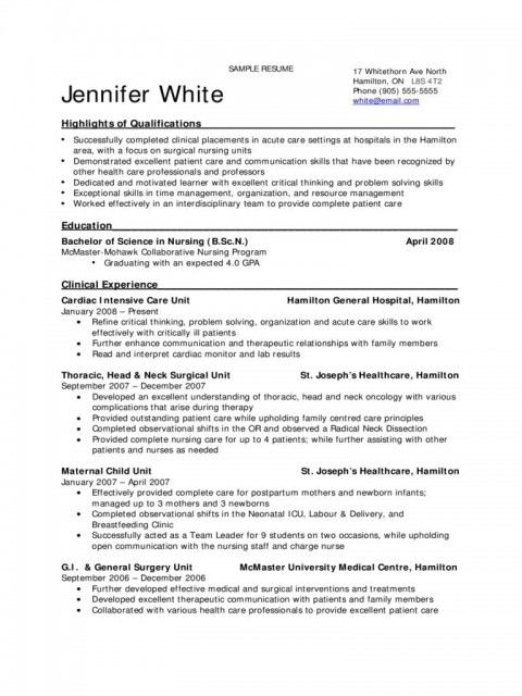 009 Excellent New Grad Nursing Resume Template Example  Graduate Nurse Practitioner480