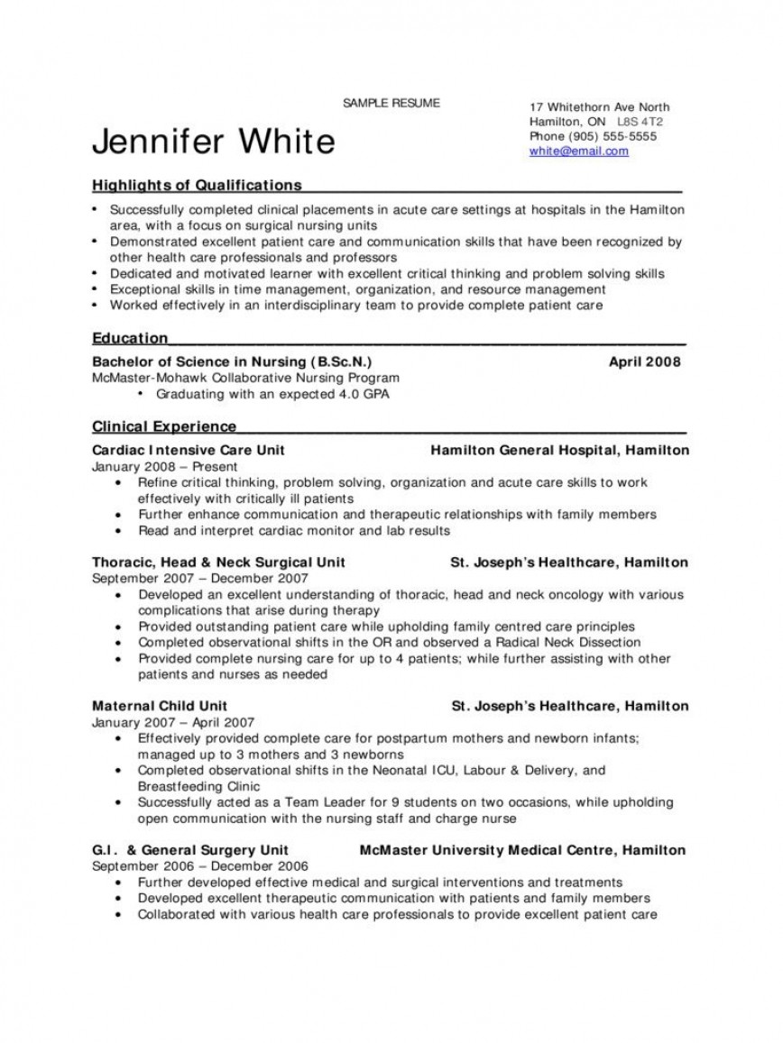 009 Excellent New Grad Nursing Resume Template Example  Graduate Nurse Practitioner868