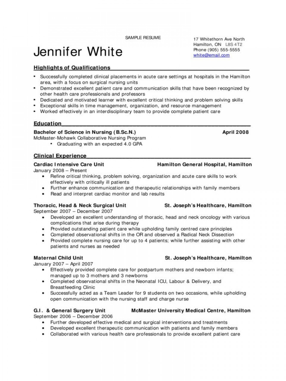 009 Excellent New Grad Nursing Resume Template Example  Graduate Nurse Practitioner960