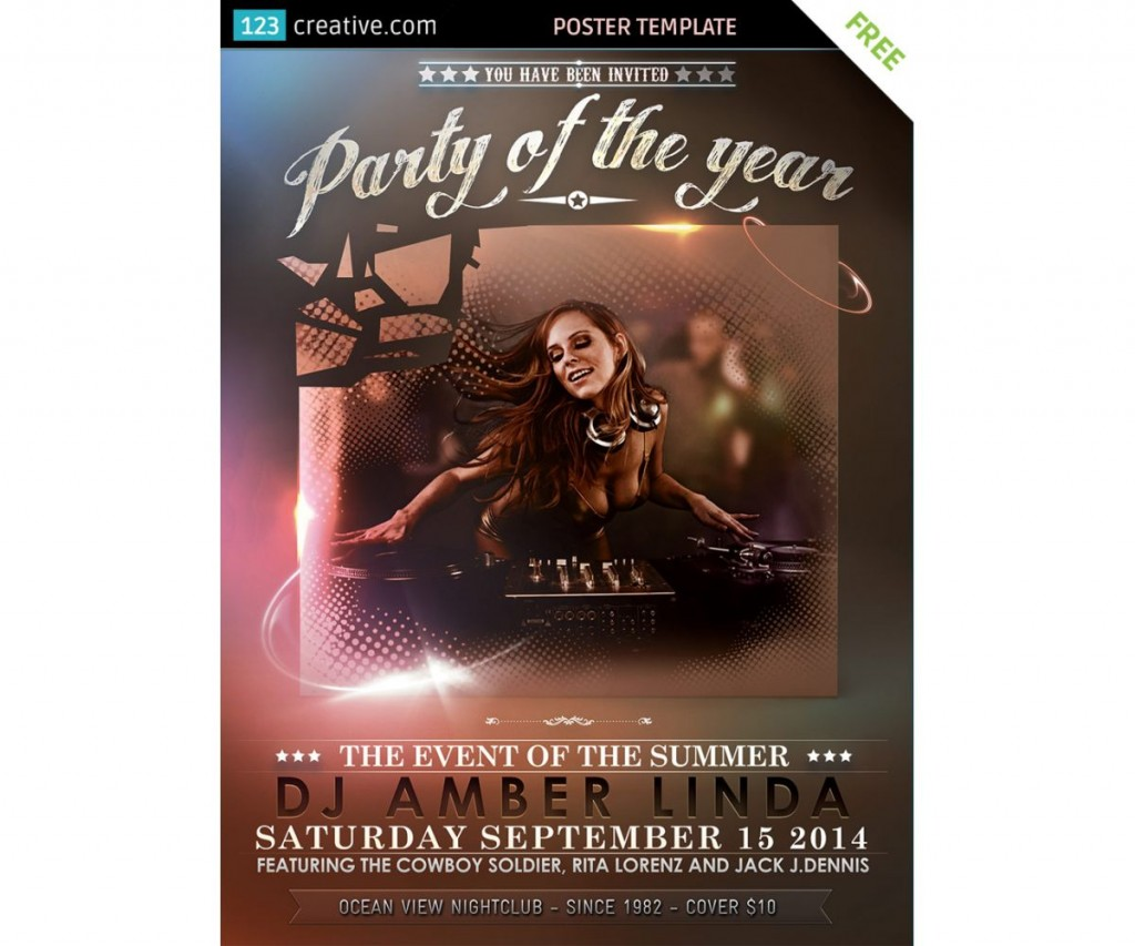 009 Excellent Party Event Flyer Template Free Download Concept Large
