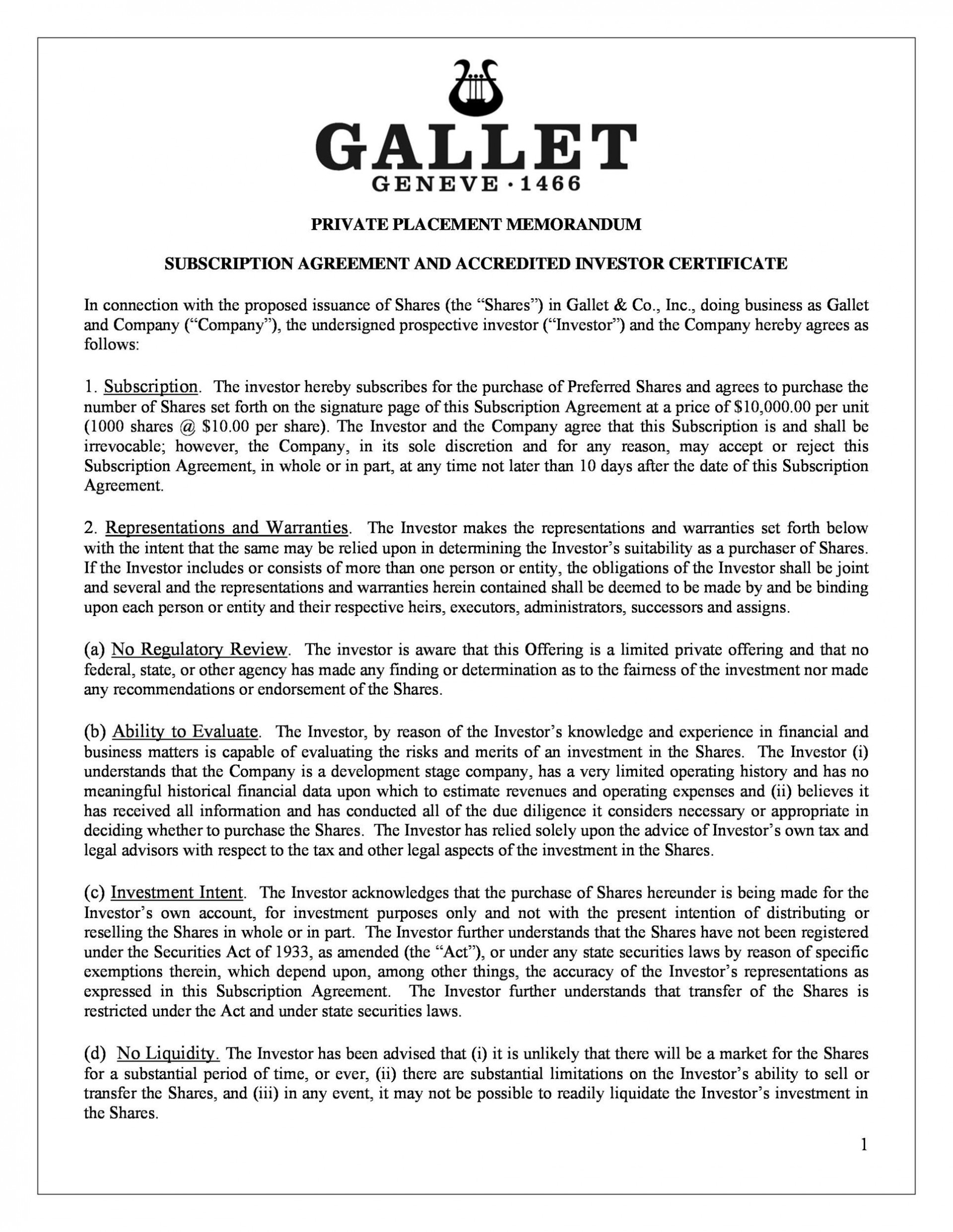 009 Excellent Private Placement Memorandum Format Concept  Template Canada Form Uk1920