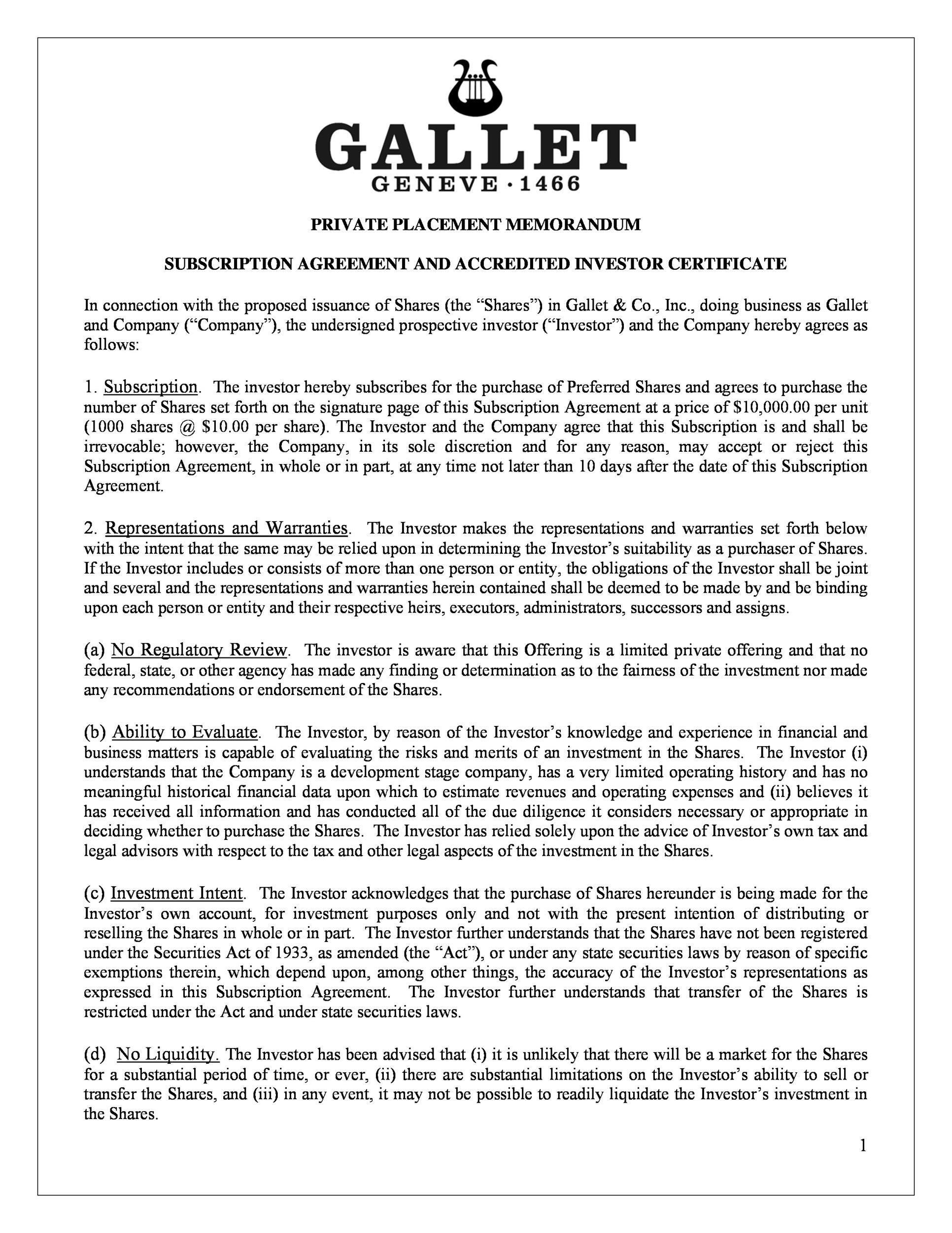 009 Excellent Private Placement Memorandum Format Concept  Template Canada Form UkFull