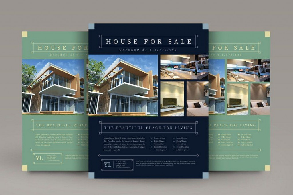 009 Excellent Real Estate Flyer Template Free Example  Publisher Commercial Pdf DownloadLarge