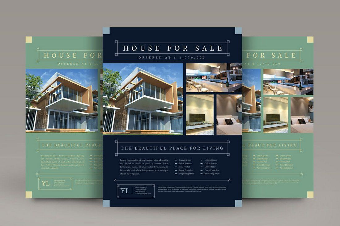 009 Excellent Real Estate Flyer Template Free Example  Publisher Commercial Pdf DownloadFull