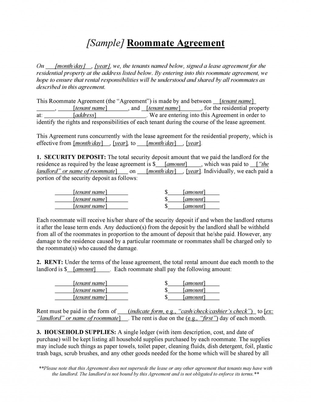 009 Excellent Roommate Rental Agreement Template Image  Form Free ContractLarge