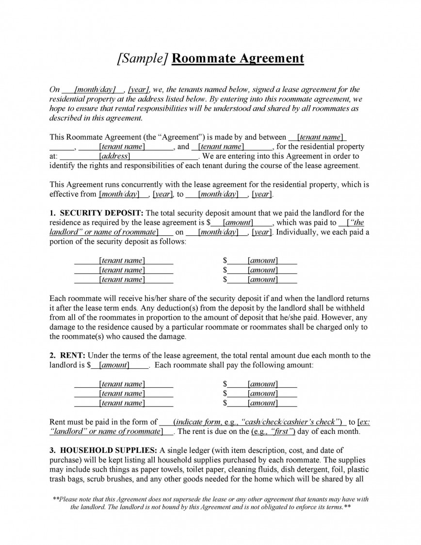 009 Excellent Roommate Rental Agreement Template Image  Free Word Form