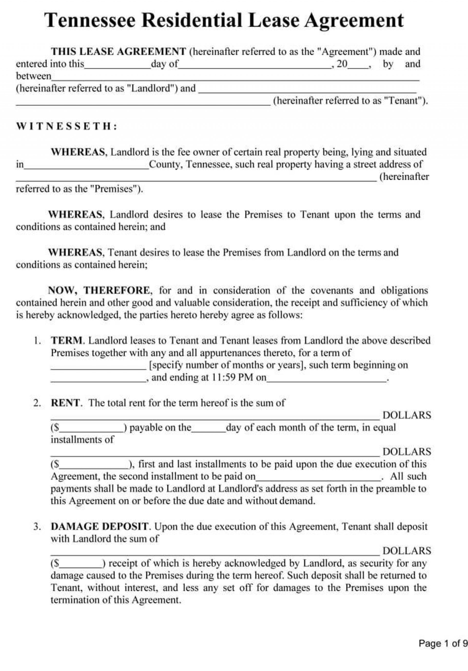009 Excellent Sample House Rental Agreement Template  Contract Lease1920