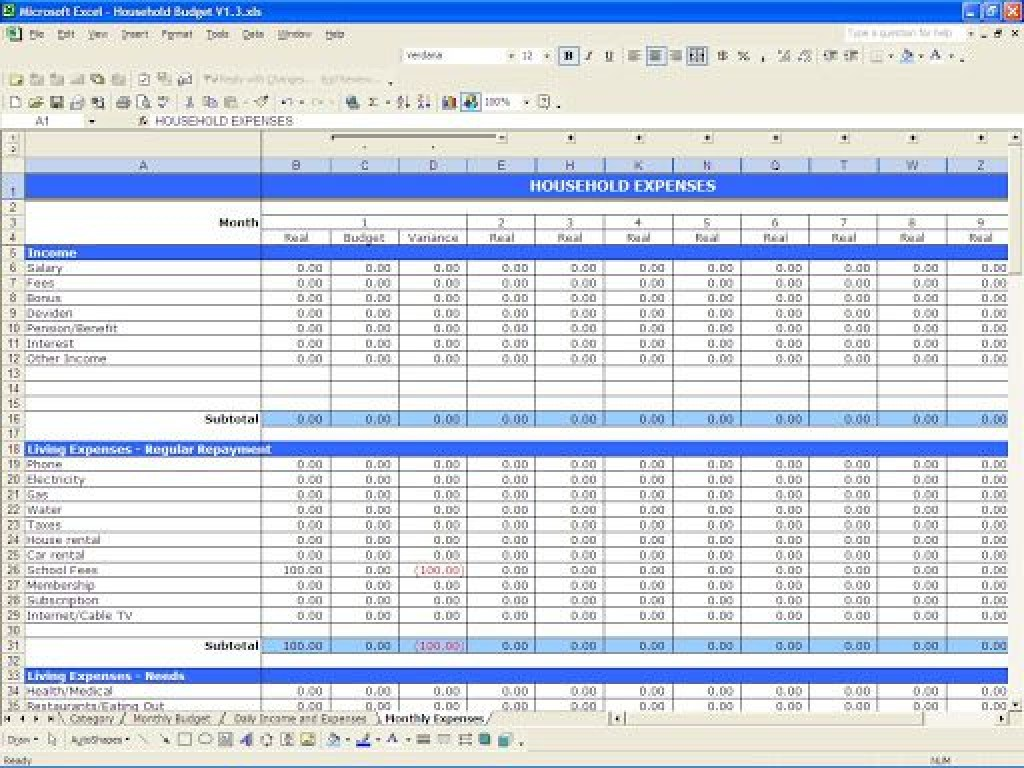 009 Excellent Simple Excel Budget Template Idea  Personal South Africa Household FreeLarge