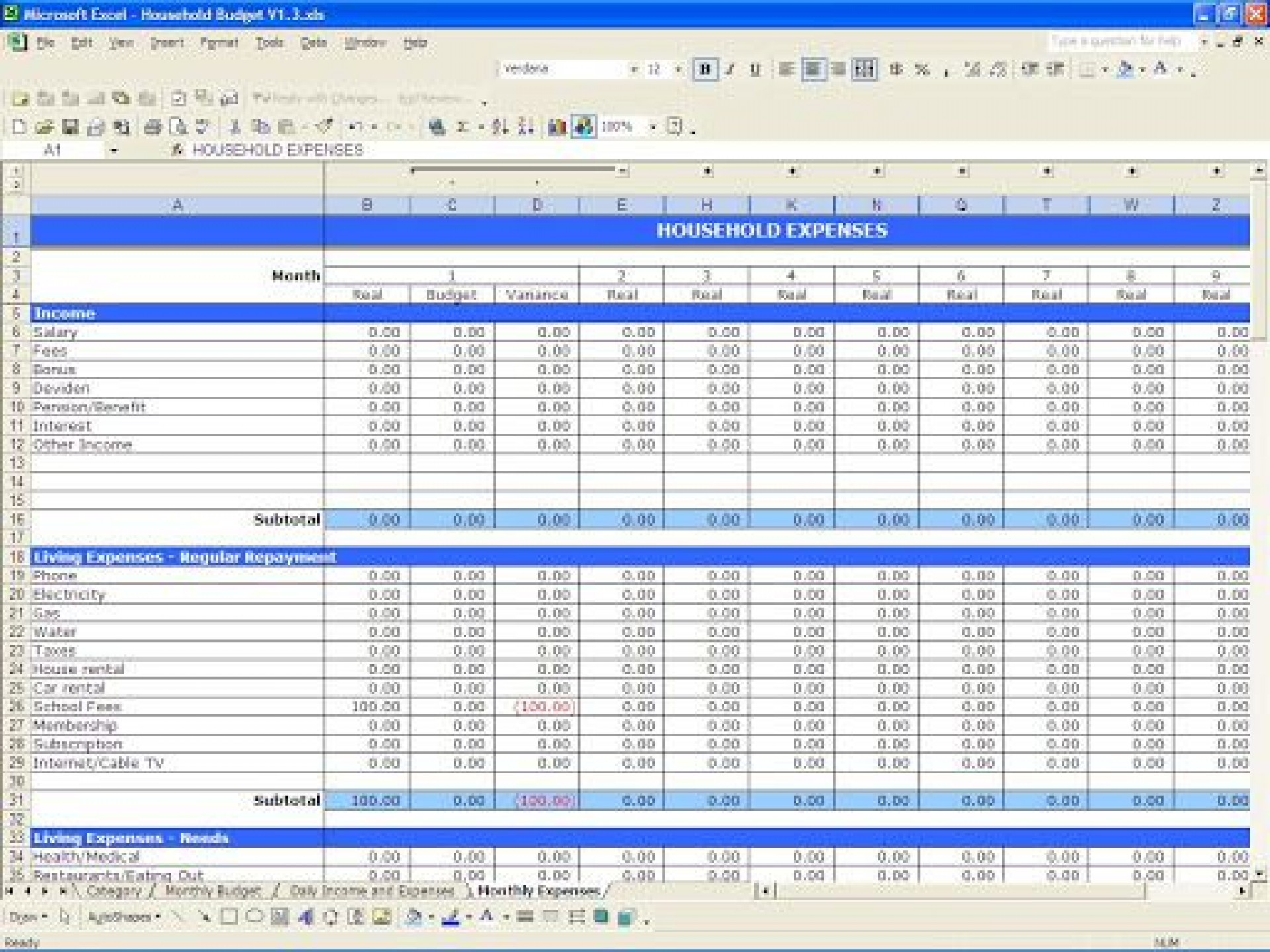 009 Excellent Simple Excel Budget Template Idea  Personal South Africa Household Free1920