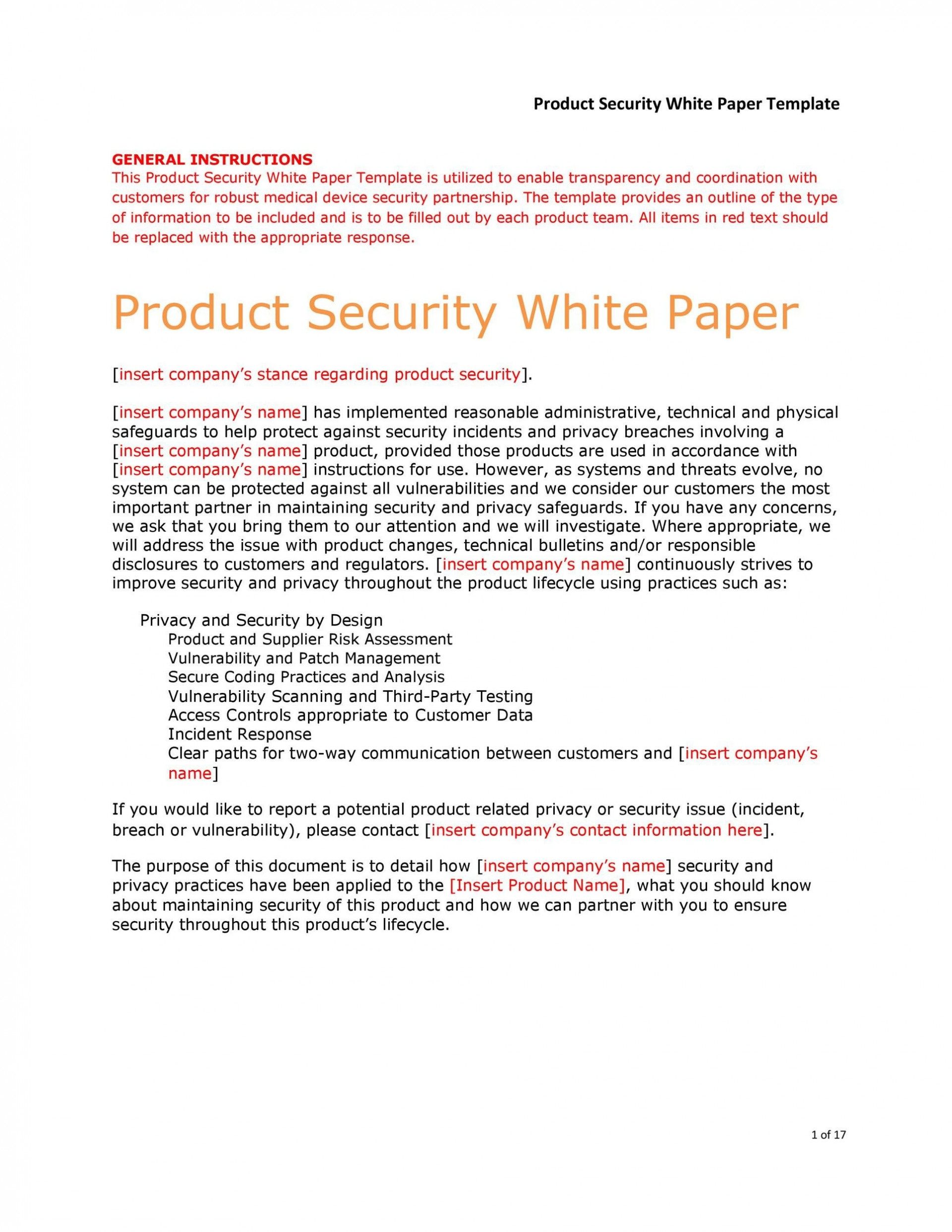 009 Excellent White Paper Outline Template Example  Free1920