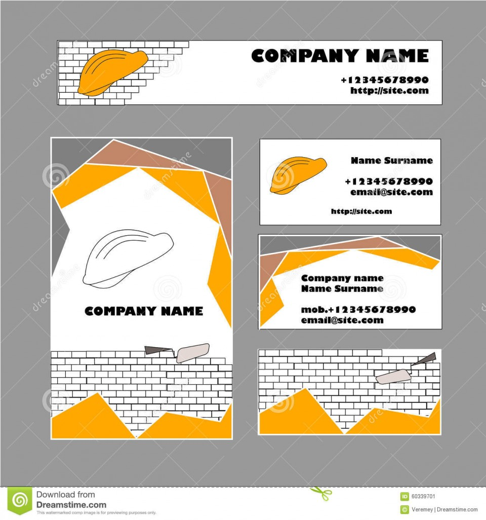 009 Exceptional Construction Busines Card Template Example  Company Visiting Format Word For Material960