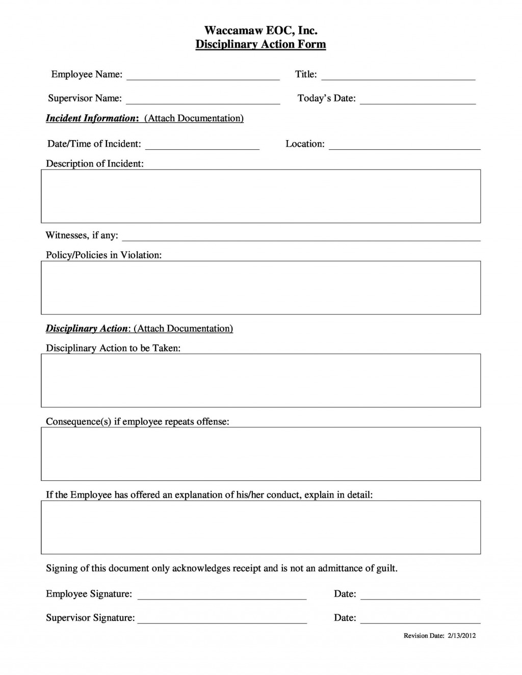 009 Exceptional Disciplinary Write Up Template Inspiration  Templates Employer FormLarge