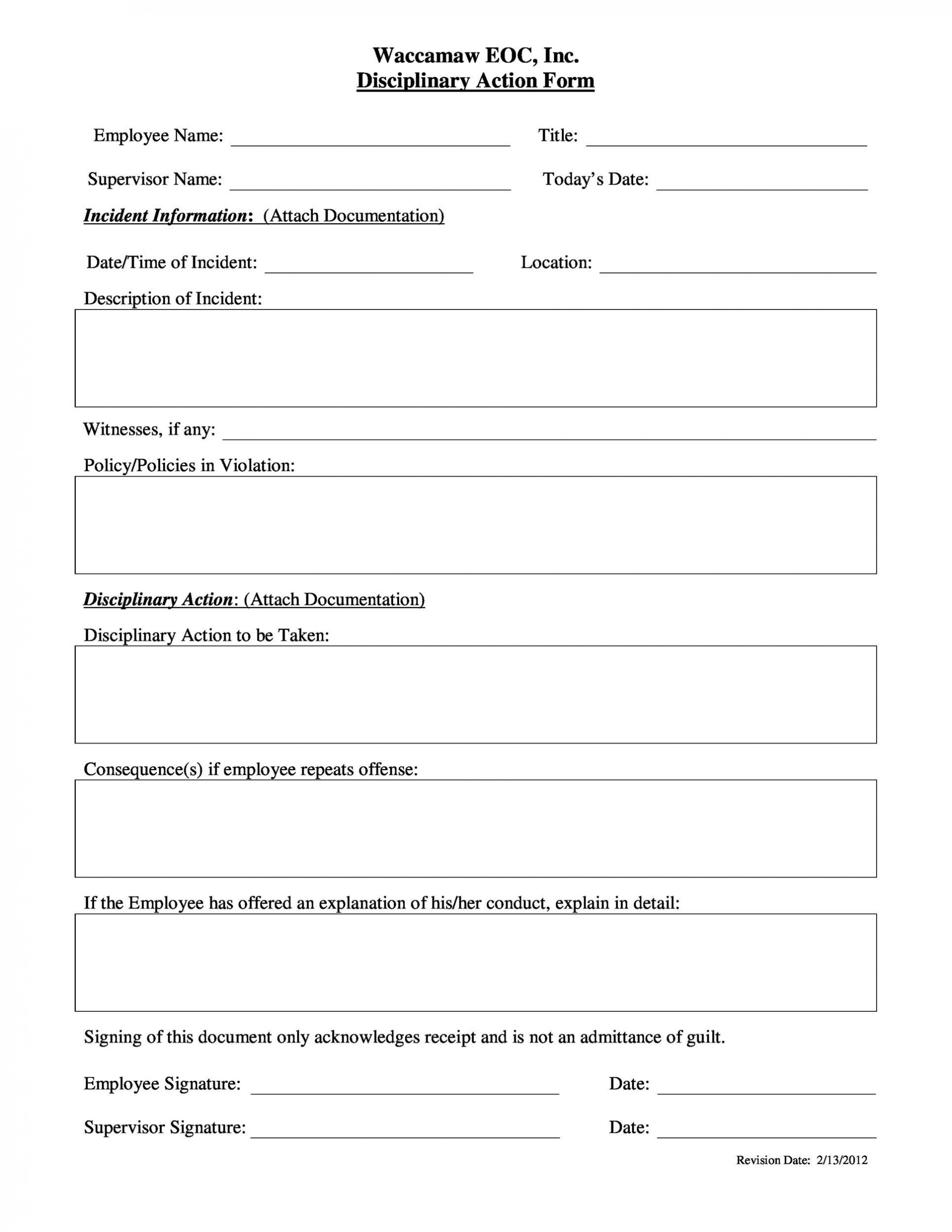 009 Exceptional Disciplinary Write Up Template Inspiration  Templates Employer Form1920