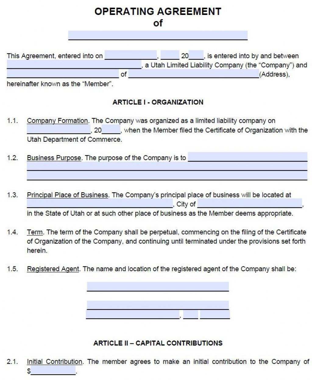 009 Exceptional Free Operating Agreement Template Example  Pdf Missouri LlcLarge