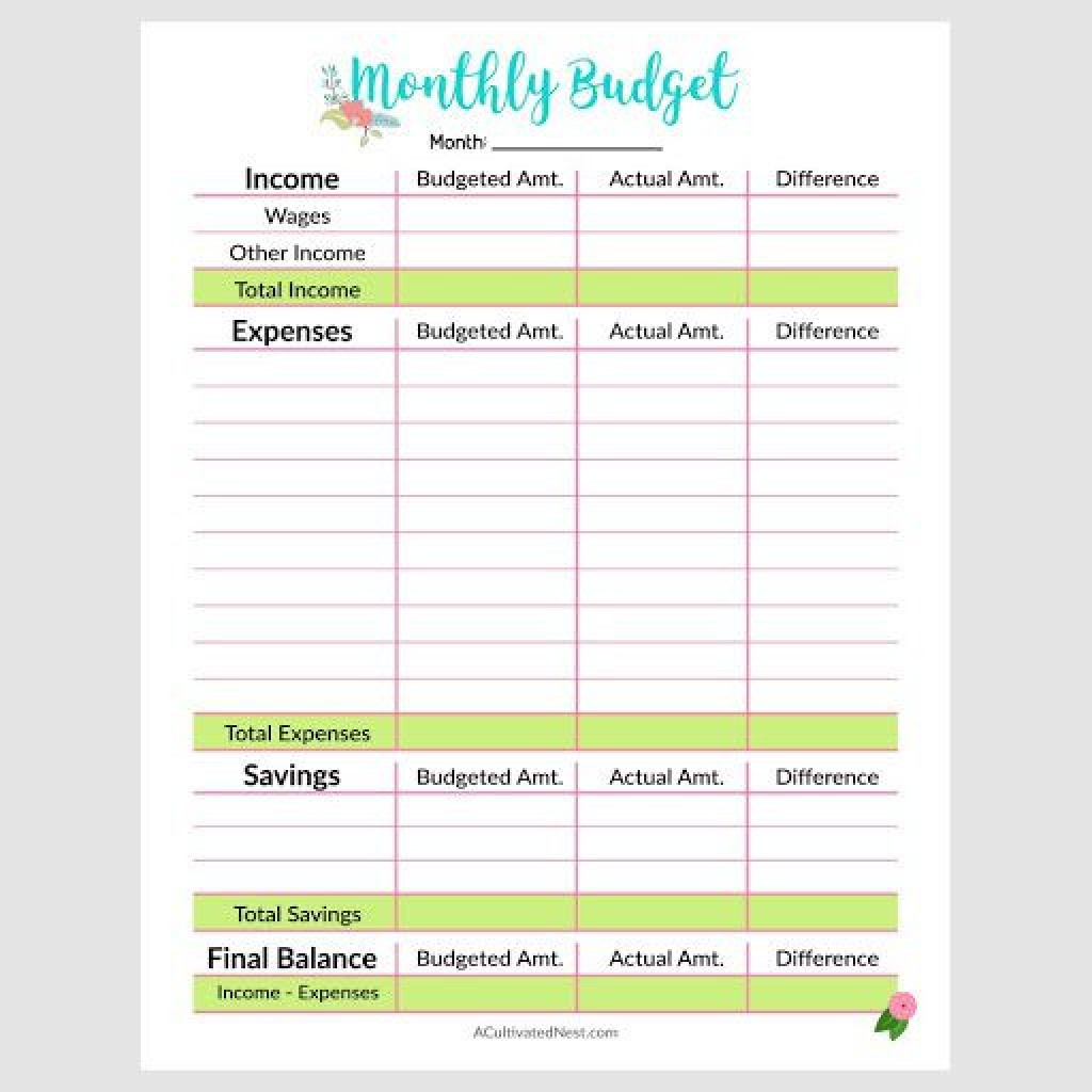 009 Exceptional Free Printable Monthly Budget Form Picture  Simple Template Blank Household SheetLarge