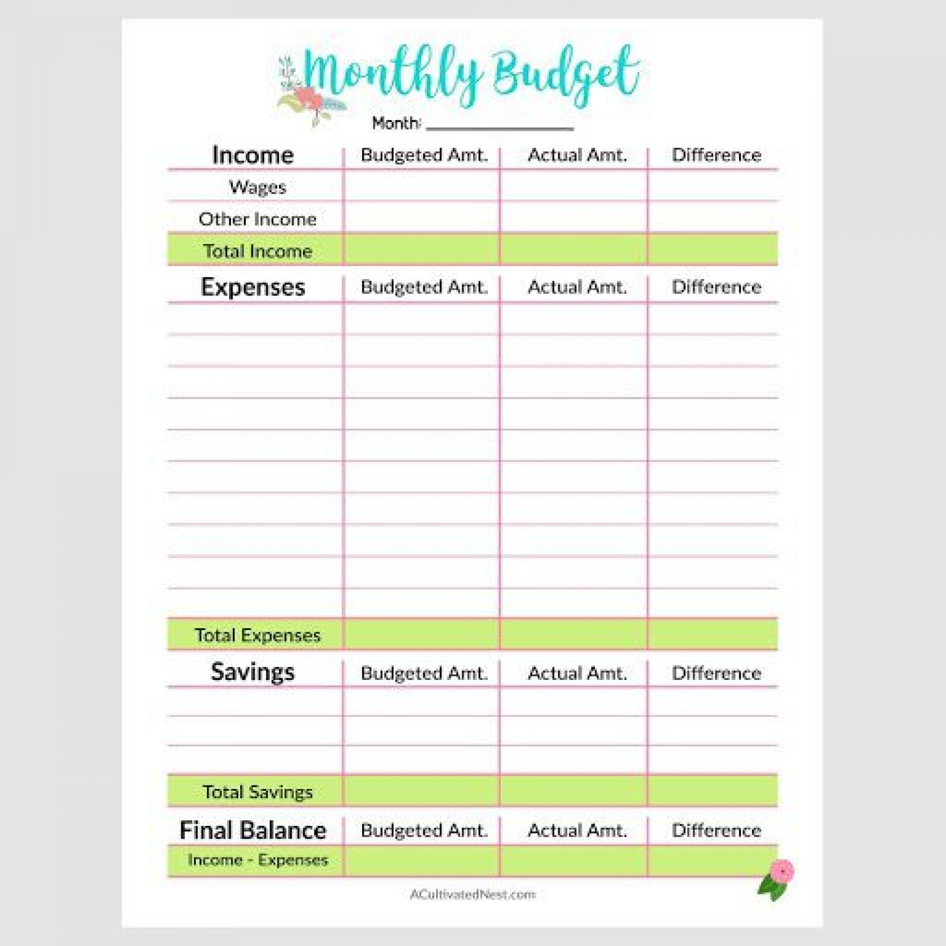 009 Exceptional Free Printable Monthly Budget Form Picture  Simple Template Blank Household Sheet1920