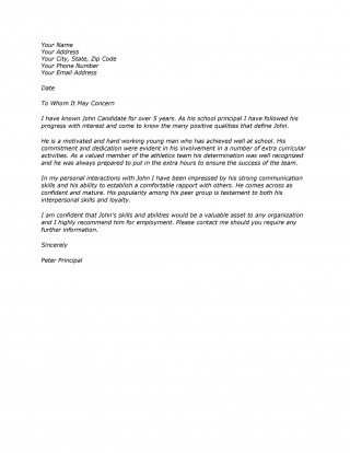 009 Exceptional Free Reference Letter Template Word Example  For Employment Personal320