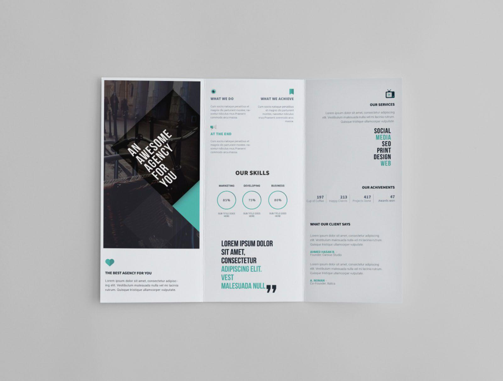 009 Exceptional Free Tri Fold Brochure Template Inspiration  Photoshop Illustrator Microsoft Word 2010Full
