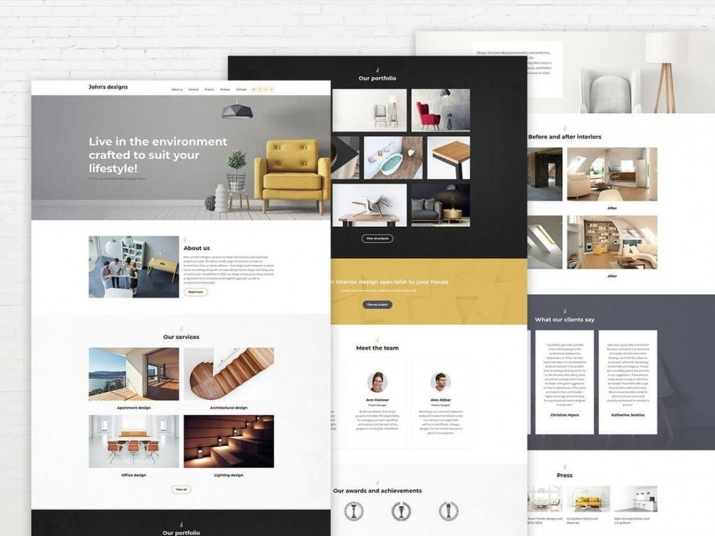 009 Exceptional Interior Design Portfolio Template High Def  Ppt Free Download LayoutLarge