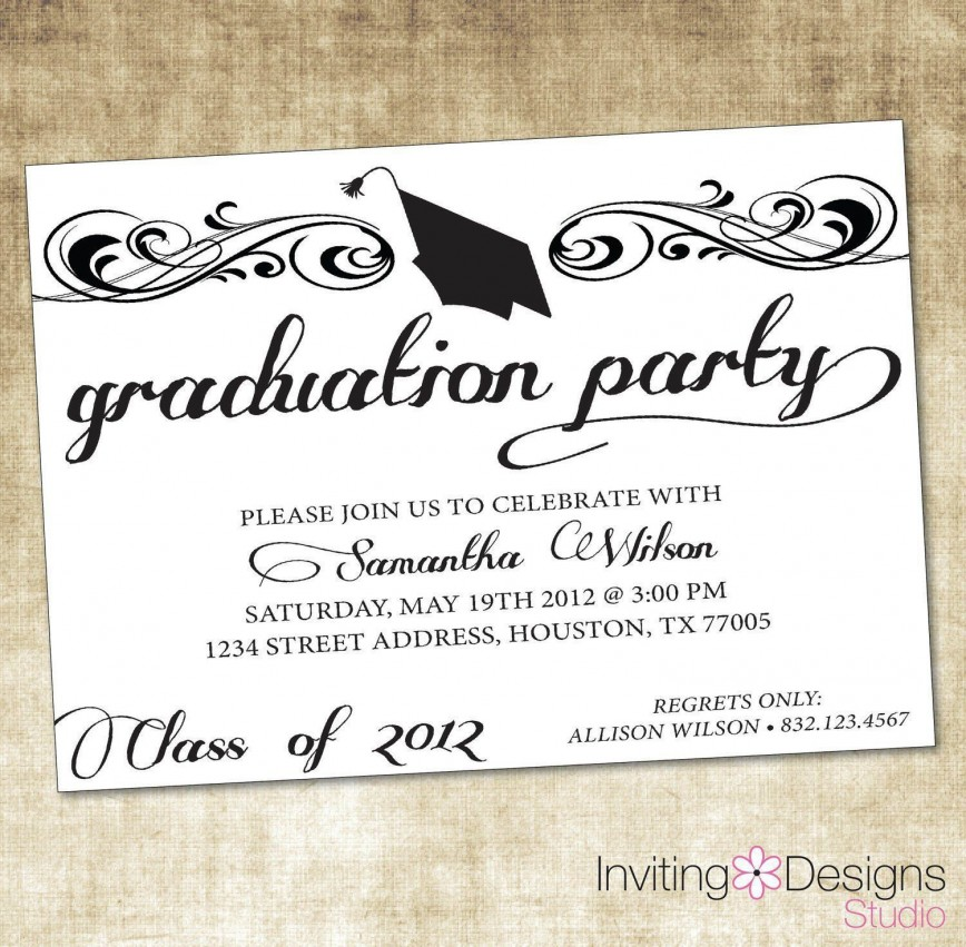 009 Exceptional Microsoft Word Graduation Party Invitation Template Concept 868