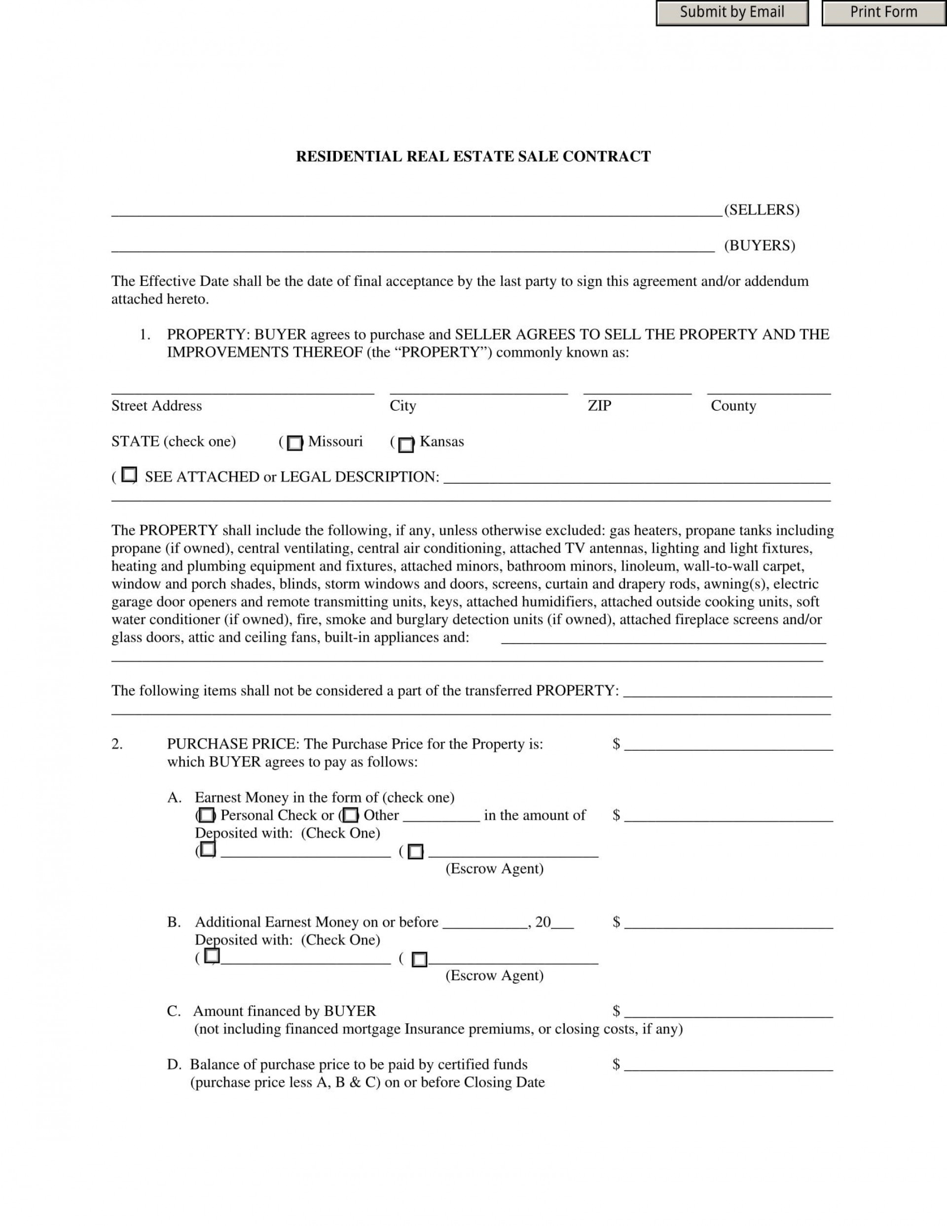 009 Exceptional Residential Purchase Agreement Template Picture  California Form Free1920