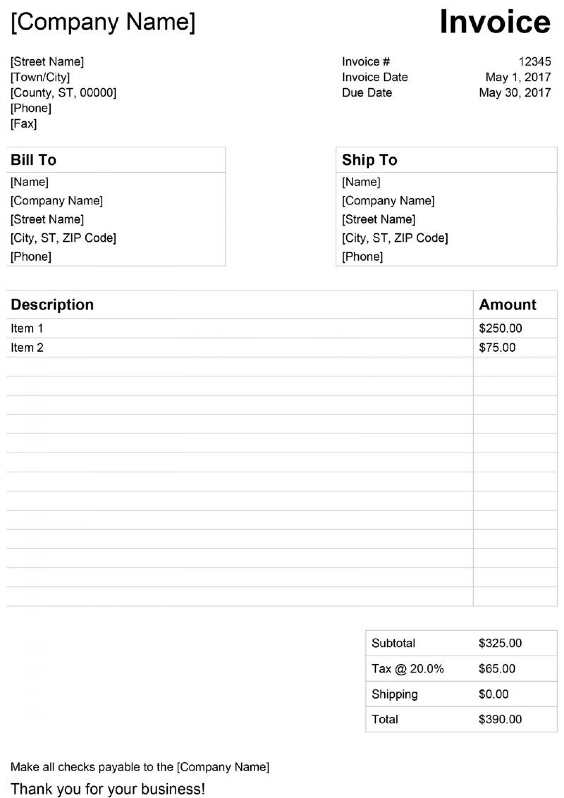 009 Exceptional Simple Invoice Template Word Design  Cash Receipt Doc Download Microsoft1920