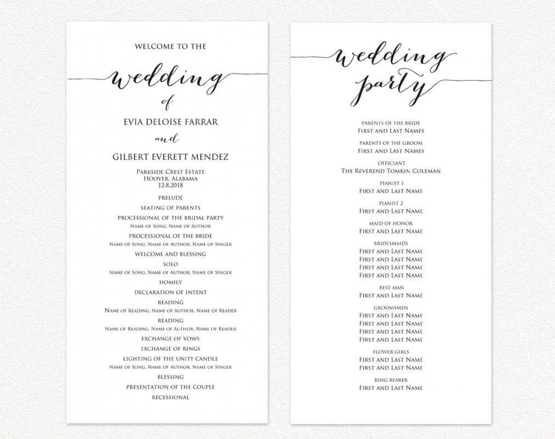 009 Exceptional Template For Wedding Program Inspiration  Word Free Catholic1920