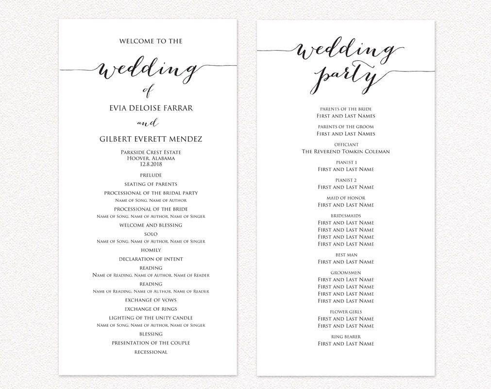 009 Exceptional Template For Wedding Program Inspiration  Word Free CatholicFull