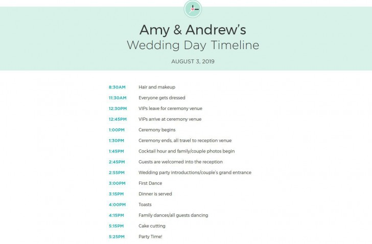 009 Exceptional Wedding Day Schedule Template Example  Excel Editable Timeline Free Word728