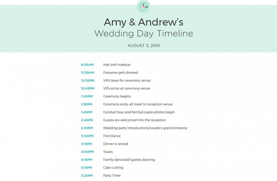 009 Exceptional Wedding Day Schedule Template Example  Excel Editable Timeline Free Word960