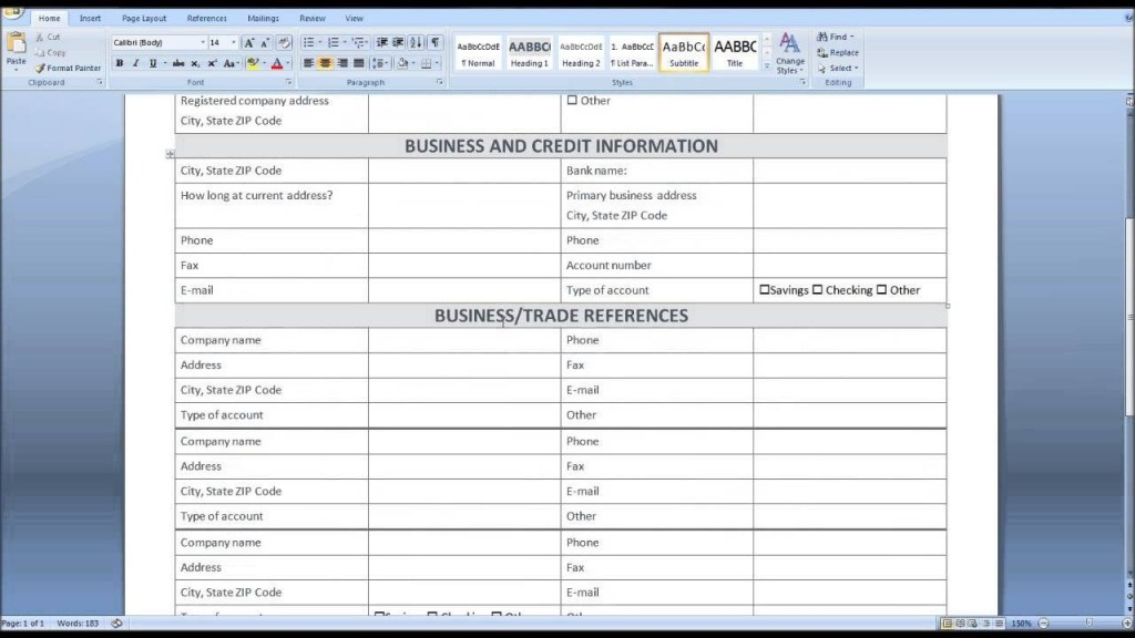 009 Fantastic Busines Credit Application Form Template Excel Design Large